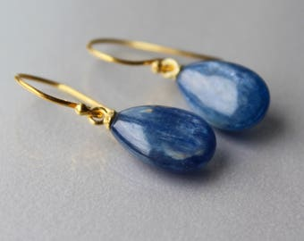 Gold Kyanite Drop Earrings 14k Gold Filled, Cobalt Blue Smooth Drops