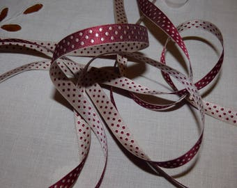 Eloise reversible red polka dot ecru or off-white with red polka dots Ribbon