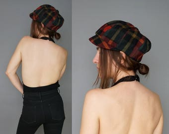 1960s Plaid Cabbie Newsboy Moto Beret Cap Hat   Red Green Teal Wool Hat   What's Up Doc? Hat   M