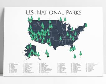National Parks Checklist Map | Nursery Art