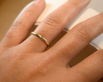 10K All Sizes SOLID Yellow Gold 2mm Female Band Ring