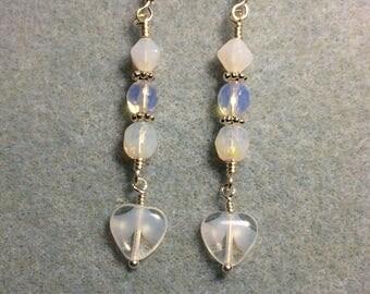Milky white and clear Czech glass heart bead dangle earrings adorned with milky white and clear Czech glass beads.