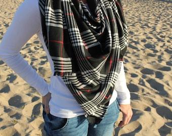 Flannel Plaid Blanket Scarf/Black/Red/White