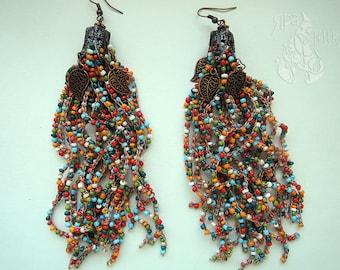 Tassel earrings Boho earrings Long earrings Beaded earrings Gypsy earrings Gift birthday Multicolor earrings Chic earrings Gift for her