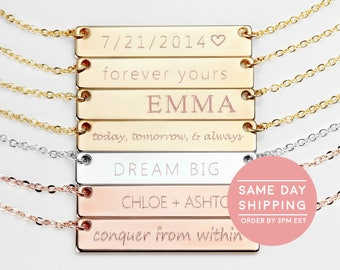 Name Necklace Gold Name Plate Necklace Initial Necklace Rose Gold Bar Necklace Letter Necklace WEDDING GIFT - 4N