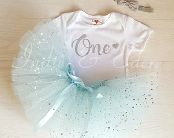 1st Birthday tutu girls blue personalised silver one set flower headband photo prop cake smash party