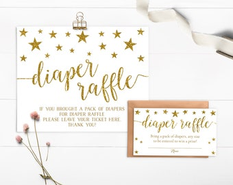 Twinkle Twinkle Little Star Baby Shower Decorations, Diaper Raffle Sign, Diaper Raffle Tickets, Diaper Raffle Card, Printable - SG1