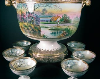 """Nippon 01 Set Punch Bowl on Stand with Handles and 6 Cups Hand Painted Green """"M"""" Wreath Mark SCENIC Art Right from the Estate Sideboard"""