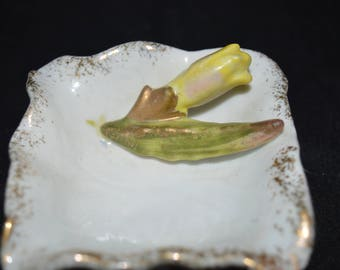 """Mini square bowl / ashtray / gold trim / yellow flower / Bechwith China / Japan / 2.5"""" square / made in Japan / small / square / asktray"""