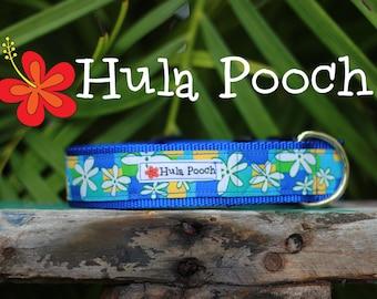 "Dog Collar ""Retro Flowers"" -Turquoise Flower - Medium, Large, Wide, Adjustable // FREE SHIPPING"