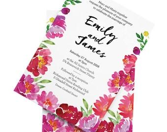 Camellia Garden Wedding Invitation Set - Personalised & Printable