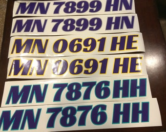 Two Custom Boat or PWC License / Registration Number Decals