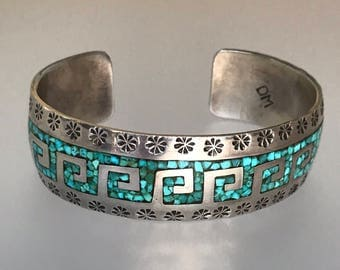 Vintage Native American Sterling Silver Turquoise Chip Inlay Cuff Bracelet . Hallmarked DM . 6.75 IC. 40.3g.