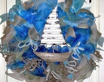Summer Wreath, Sailboat wreath, Beach wreath, nautical wreath, Lake wreath, Coastal wreath