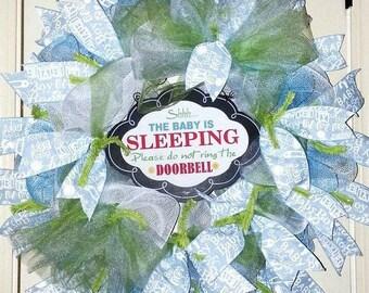 Baby Boy wreath, Baby Boy nursery door wreath, Hospital baby door, Baby Sleeping door hanger, blue baby wreath