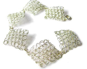 Silver wire crochet bracelet, handmade double layer silver colour wire crochet diamond shapes joined together with small handmade links