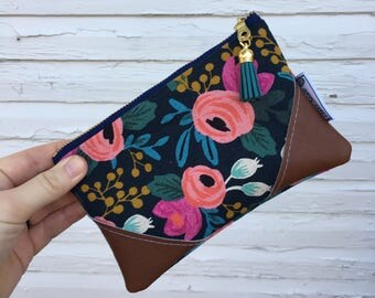 Navy Blue Rifle Paper Co. Floral Mini Tassel Clutch