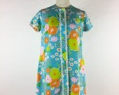 Vintage 1960s Blue Floral Tunic Blouse Mini Dress Bright Orange Green Mod
