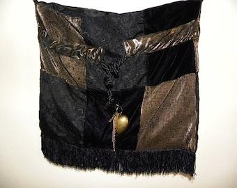 Beautiful hand made patchwork bag, black gold, velvet, long shoulder strap, gothic, boho