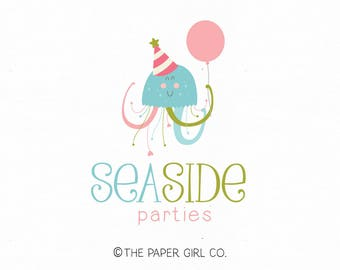 party logo design octopus logo balloon logo party hat logo party planner logo premade logo photography logo kids logo children's logo