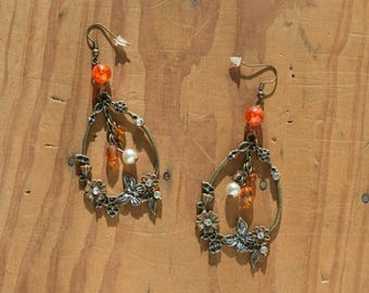 Flowers, beads and butterfly earrings