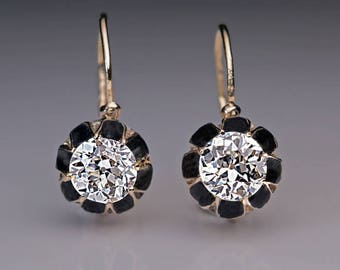 Antique 1.21 Ct Tw Solitaire Diamond Enamel Gold Earrings