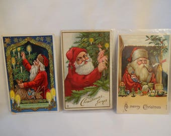 Christmas Antique Post Cards - Santa Claus - Early 1900's Set of 3