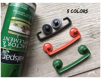 Drawer PULL with JOHN DEERE Colors - Bail & Washers Black Orange Gray Green Up-Cycle Furniture