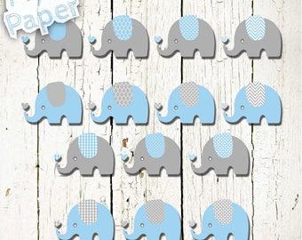 "Elephant Clip art: ""Baby Blue & Gray"" zoo, jungle, safari, baby shower, baby. Transparent background"