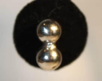 Double Silver Tone Ball Screw On  Earrings Unusual
