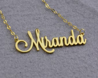 Personalized Name Necklace,Custom Nameplate Necklace,Gold Name Necklace,Script Font Necklace,Custom Name Necklace,Name Pendant N181