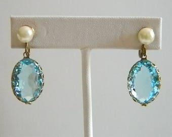Oval Sky Blue Glass White Pearl Screw Back Earrings