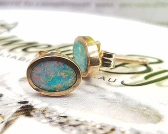 9K Gold Natural Crystal Opal inlay earrings