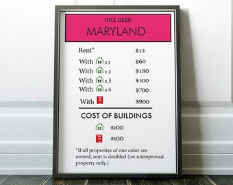 Monopoly patent poster board game art monopoly blueprint maryland poster monopoly board games custom monopoly board game art board malvernweather Choice Image