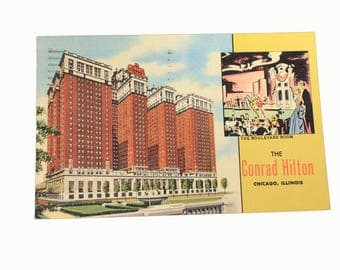 1950s Conrad Hilton Postcard, Chicago, Illinois, Vintage, Ephemera