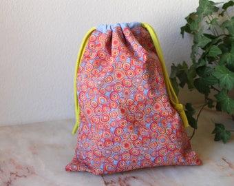 Big drawstring bag, Knitting Project Bag, Project Bag , Storage bag, traveling bag