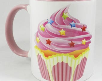 he Pink Cupcakes Mug with pink glazed handle and inner