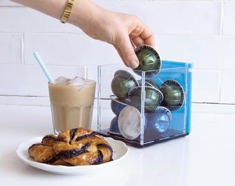 Nespresso Vertuoline Clear Blue Coffee Capsule box, Kitchen Organizer, Decor Gift, Counter Top Storage, Kitchen Accessory Coffee Pod Display