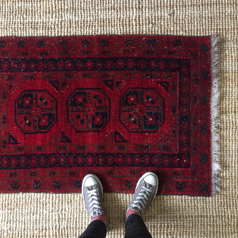 Vintage Afghan Rug Small Wool Oriental Rug Dark Red And