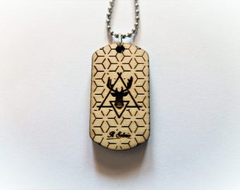 DEER wood GEOMETRIC fashion hipster DOGTAG 2017