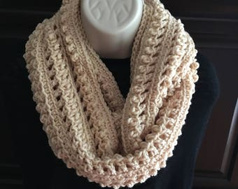 Infinity Scarf,Crochet Scarf,Women's Infinity Scarf,Crocheted,Knit,Fashion Scarf,Handmade Scarf,Color BEIGE,Warm and Soft,Color Choice