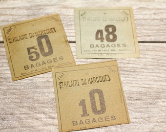 Vintage French Baggage Tag Gift Tag Antique Luggage Tag Travel Souvenir Junk Journal Paper Supplies