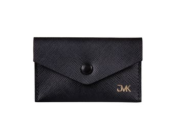 JMK Saffiano Leather Business Card Holder Personalized