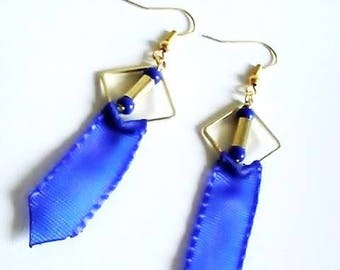 Blue crazy lace earrings