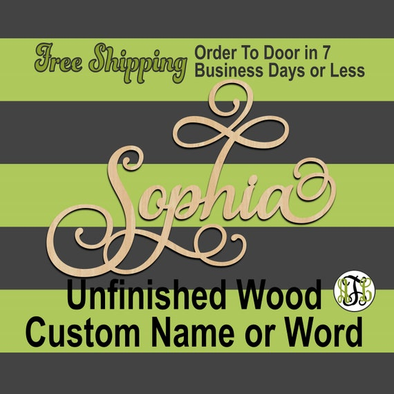 "1/2"" Thick BBP Unfinished Wood Custom Name in SaISw Font, Script, Cursive, wooden name sign, laser cut wood out, Personalized, DIY"