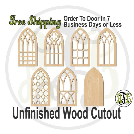 Cathedral Window Designs - 4500001-07- Architectural Cutout, unfinished, wood cutout, laser cut shape, wood cut out, Door Hanger, wood art