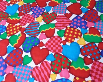 VIP  Valentine Heart  quilting sewing fabric has all sizes of hearts and is very colorful  1 Yard 27 inches  of cotton fabric