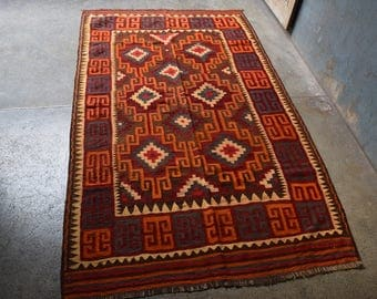 FREE SHIPPING Vintage Flat Weave Turkish Kilim