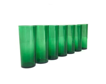 Tall Mid Century Modern Green Drinking Glasses (7)