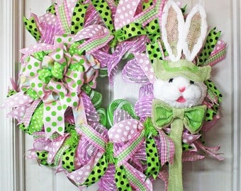 Easter Bunny Deco Mesh Wreath, Easter Wreath, Pink and Green Easter Wreath, Easter Holiday Door Decor